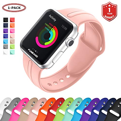 FunBand Bracelet pour Apple Watch, Apple Watch en Sport de Ajustable Monochrome Souple Silicone Bande de Accessoire pour Nike + Style Apple Watch Serie 4,Serie 3,Serie 2,Serie 1
