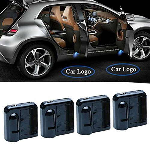 Price comparison product image 4 Pcs Car Door LED Lighting Wireless Welcome Laser Projector Logo Light Ghost Shadow Light Lamp Logos10th Generation