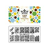 PUEEN Nail Art Stamping Plate - Animal Safari 01 - Theme Park Collection 125x65mm Unique Nailart Polish Stamping Manicure Image Plates Accessories Kit