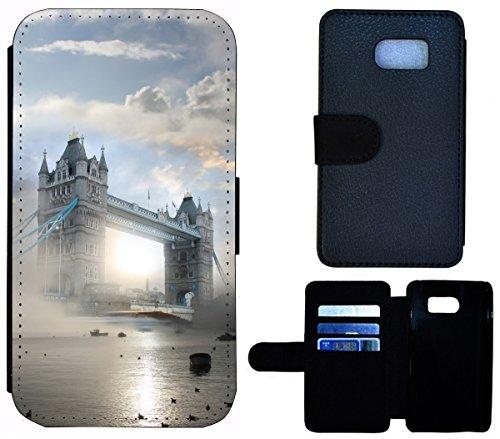 Flip Cover Schutz Hülle Handy Tasche Etui Case für (Apple iPhone 5 / 5s, 1532 Katze Kätzchen Katzenbaby Weiß Schwarz) 1529 Tower Bridge England London Nebel