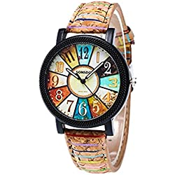 Women Watch,Rawdah Graffiti Pattern Leather Band Analog Quartz Wrist Watches