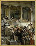 Berkin Arts con Cornice Maurycy Gottlieb Giclée Tela Stampa La Pittura Poster Home Decor Riproduzione(Cristo insegna a Cafarnao) #XLK