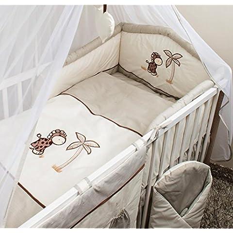 Ricamo, 5 pezzi per culla/lettino Baby Bedding Set paracolpi, motivo: giraffa