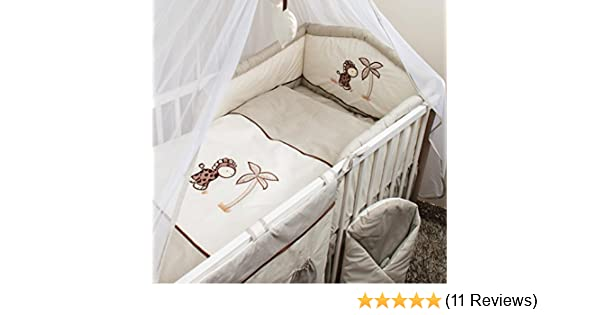 Giraffe Luxury 6 Piece Embroidery Cot 120x60 cm Baby Bedding Bumper Set