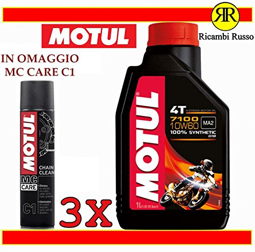 Motul 7100 10w60 olio motore moto 4 tempi litri 3 + OMAGGIO MC Care C1 Ch