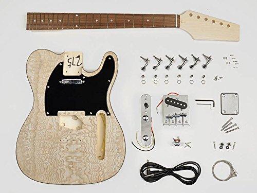 Telecaster built your own hardware guitar builder kit 22 frets neck with figured maple body new KIT-TE-40