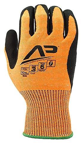 Apollo Performance Gants de travail, outil Grabber Cut protéger 3, résistance aux coupures Gants, 13Jauge Hppe Knit, triple polymère hybride prise en main, capacités d'écran tactile avec la technologie tactile Lightning, ANSI Cut Level 3, 1paire, haute visibilité Orange, XL, ANSI Hi Vis Orange, 1