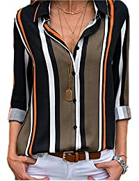 FIYOTE Chemisier Femme Manches Longues Shirt Rayures Verticales Col en V Top Multicolore S-XXL