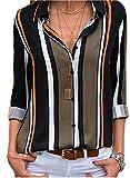 FIYOTE Damen Freizeit-Bluse Chiffon V-Ausschnitt 3/4 Arm gerüschtes lockeres T-Shirt Bluse Tops Schwarz XL