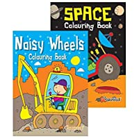 Bargain Gateway A4 Kids Colouring Books - Noisy Wheels & Space 2 Pack Set Stocking Filler