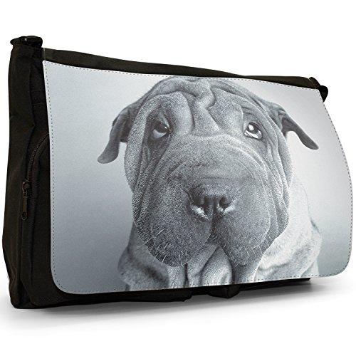 Fancy A Bag Borsa Messenger nero Black & White Shar Pei Dog Black & White Shar Pei Dog