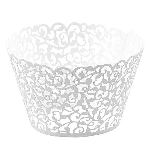 JUYUAN Pappbecher Little Vine Spitze 25 Stück Cup Cake Cupcake Wrappers, Pappbecher Verpackungen Kuchenverpackung für Hochzeit Geburtstag feiern Baby Dusche Dekoration (Cupcake-wrapper)