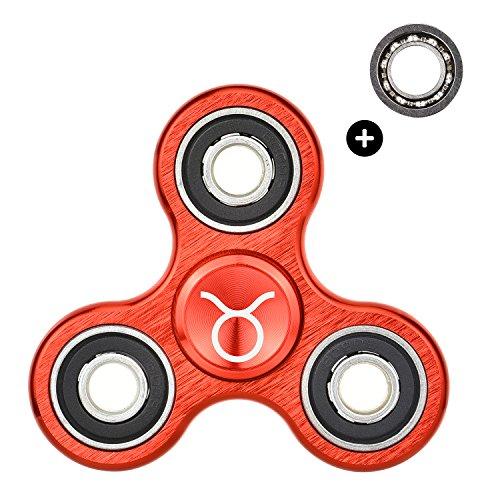 HIZOON - Hand Spinner Juguete Sensorial Fidget Toy Personalizable *Constelaciones del Zodiaco* Alivia Estrés Tensión y Ansiedad para TDAH TDA Autismo | Rodamiento de Repuesto | Aleación de Aluminio (Tauro Rojo)