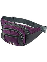 Skysper Riñonera Riñoneras para la cintura Bolsa Bolso de Cintura nylon para Hombre Mujer Cinturón deportivo Perfecto para viajar, comprar, encalada, caminar con el perro, correr, ciclismo