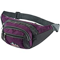 Skysper Bumbags and Fanny Packs 3 Zip Pockets Nylon Waist Bag For Women Men, Ideal for Travelling Hiking Fishing
