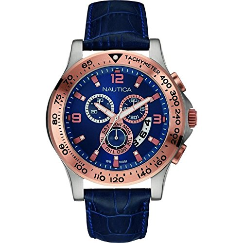 NAUTICA MEN'S BLUE LEATHER BAND STEEL CASE QUARTZ ANALOG WATCH NAI19502G