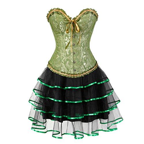(Damen Burlesque Korsett mit Mini Tutu Rock Kostüm Gothic Outfit Clubwear Green-S-Green)