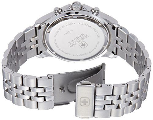Swiss Military Men's Quartz Watch with White Dial Chronograph Display and Silver Stainless Steel Bracelet 6-5183.04.001.07