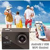 Ckeyin® 4K Ultra HD WIFI Cámara Deportiva con Pantalla LTPS de 2 Pulgadas Sumergible 30M 12MP Lente Gran angular 170º Tarjeta micro SD hasta 32GB