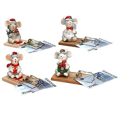 SIGRO Gold Polyresin Weihnachts-Maus auf Mausefalle 4-Fach sort. 10 x 4 x 6 cm im Set