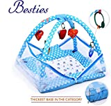 #9: Besties Baby Kick and Play Gym with Mosquito Net and Baby Bedding Set (blue bunny print)