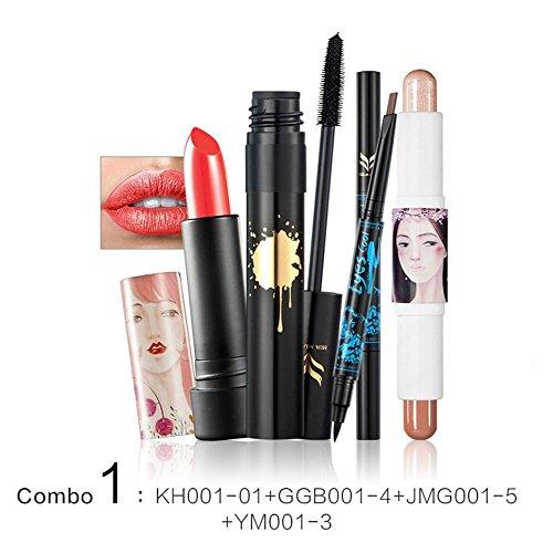 GSTONE 4PCS Femmes blight crayon imperméable à l'eau maquillage rouge à lèvres highlight bâton mascara eyeliner belle combinaison de stylo rouge à lèvres (1)