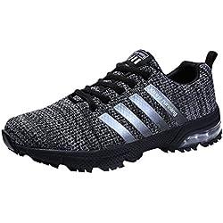 Sollomensi Zapatillas Deporte Hombre Mujer Running Deportivas Zapatos para Correr Padel Casual EU 42 B Gris