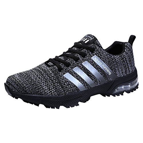 SOLLOMENSI Men Women Sports Shoes Running Sneakers Trainers Air Cushion Fitness Athletic Walking Gym EU 45 B Grey