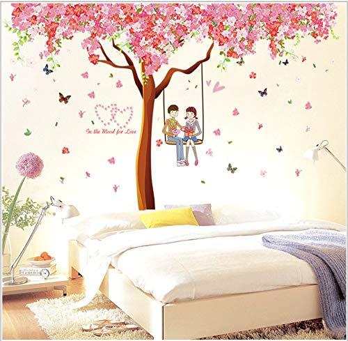 XIAOBAOZIQT Wall Sticker Decal Decals Abziehbilder Romantischer Kirschbaum Kinderzimmer Kindergarten-Schlafzimmer Wohnzimmer Hintergrunddekoration Abnehmbare Wandaufkleber