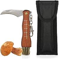 Cuchillo para setas con cepillo y regla, mango de madera marrón, hoja de acero, incluye funda Navaja