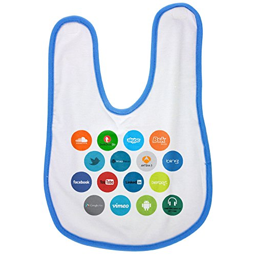 Blue baby bib with In my new test graphic design work we are trying to get a new intuitive an ddifferente UI design for smart devices like smartphones or tablets. In this way we are using an hezagon d