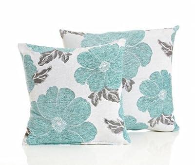 "Duck Egg Blue Poppy Flower Faux Chenille Cushion Cover 18"" (45cm) PRICED SINGLY"