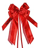 Unbekannt 3-D Schleife - rot - incl. NAME / Text - 17 cm breit u. 31 cm lang - Geschenkband / Geschenkschleife für Geschenke und Schultüten - Geschenkeschleife / Dekoschleife