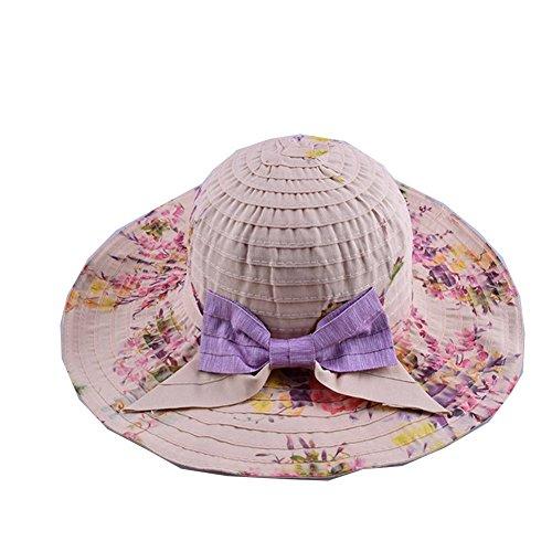 Surker Femmes Summer Pliable Beach Sun Hat bowknot Beige