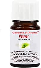 Gardens Of Aroma- Vetiver Essential Oil-Luxurious and Premium, High Quality 100% Pure, Natural and Therapeutic Grade - Exceptional Choice for Aromatherapy, Massage and Aroma Diffusers - Suitable for All Skin Types - Use for Hair Care and Skin Care.Natural & Undiluted- 10ml