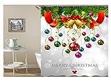 Beydodo Lustiger 3D Duschvorhang Antischimmel 165X200 Weihnachten Theme Weihnachtsglocken Weihnachtsball Bad Vorhang für Badezimmer