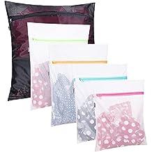 Amazon Brand: Eono Essentials Sacs en tissu pour la lessive - Paquet de 5 (1XL+ 2L + 2 M) réutilisation, sac de machine à laver résistant pour blouse, bas, dessous, soutien-gorge, lingerie