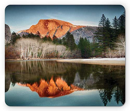 Sunset Dome (ASKSSD Yosemite Mouse Pad, View of Mountains Half Dome at Sunset Reflected in Merced River Decorative Picture, Standard Size Rectangle Non-Slip Rubber Mousepad, Navy Green)