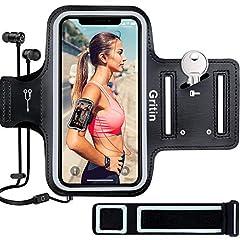 Idea Regalo - Gritin Fascia da Braccio, Sweatproof Fascia da Braccio Sportiva con Chiave e Riflettente Armband per iPhone 11/11 Pro/XR/XS/X/8 Plus/7 Plus, Galaxy S10/S9-Un Bracciale aggiuntivo di Estensione Incluso