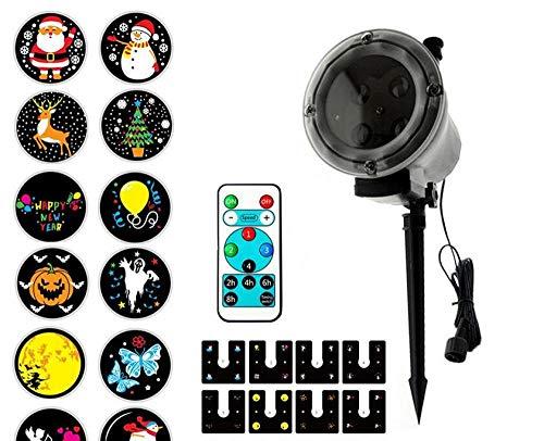 icht LED12 Bild Animation Film Highlight Projektor Licht Weihnachten Halloween Dekoration Fernbedienung Mit 12 Filmmodellen,Black ()