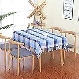 Neue Chinesische Rechteckige Haushalts Plaid Baumwolle Und Leinen Tischdecke Wohnzimmer Tischdekoration Tuch Couchtisch Abdeckung Tuch Blau Und Weiß Plaid (Baumwolle) 80X80 Cm