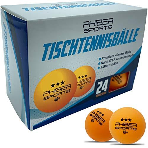 PHIBER-SPORTS Premium Tischtennisbälle 3 Stern [24 Stück] Orange - Perfekte Spieleigenschaften - Ideal für Anfänger, Familien und Profis - Nach ITTF Wettbewerbsrichtlinien