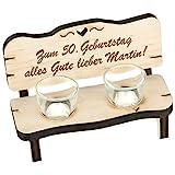 Schnapsbank Holzbank Bank Schnapsglas Geschenk Deko Glas Erle mit individueller Gravur Wunschtext 165 x 110 x 80 mm