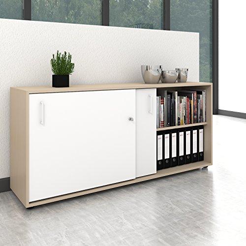 Weber Büro Schiebetürenschrank Sideboard NOVA 2OH 1.640 x 740 mm Ahorn/Weiß -
