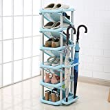 XUEYAN Schuhregal Einfache Haushalt Kunststoff Schuhregal Mehrschichtige Schuhe Lagerregal 28 * 32 * 101 cm (Farbe : 3)