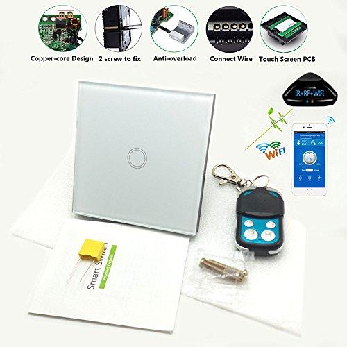 Wifi Smart Touch Screen Schalter Noctilucent Hintergrundbeleuchtung Funktion, EU Standard Touch Panel Fernbedienung Licht Wandschalter 1 Gang 1 Way Kristallglas Panel Home Wandschalter Live & Neutral