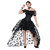 FeelinGirl Damen Korsagekleid Steampunk Gothic Kostüm Magic Mistress Hexenkostüm Teufelchen Halloween Cosplay Priatbraut, Schwarz(korsage+rock+bh), S(EU 30-32)