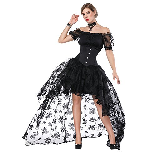 (FeelinGirl Damen Korsagekleid Steampunk Gothic Kostüm Magic Mistress Hexenkostüm Teufelchen Halloween Cosplay Priatbraut, Schwarz(korsage+rock+bh), S(EU 30-32))