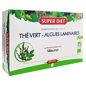 SuperDiet Thé Vert Algues Laminaires Bio Minceur 20 ampoules de 15ml soit 300ml