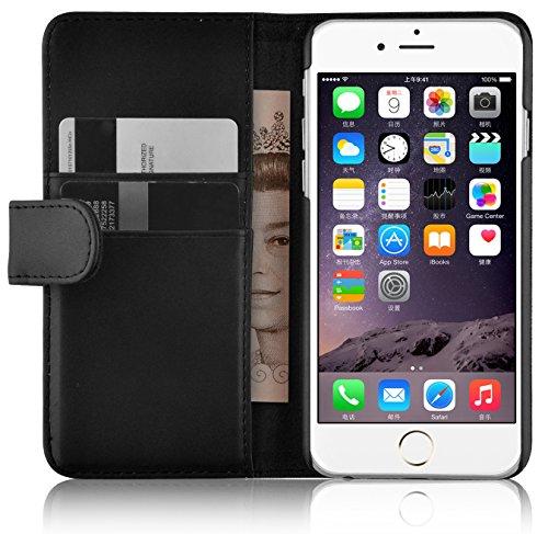 JAMMYLIZARD Lederhülle für iPhone 6 / 6s | Ledertasche [ Wallet Tasche Series ] Leder Book Case Hülle Flip Cover Schutzhülle mit Kartenfach, Schwarz